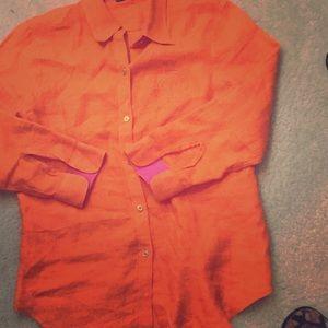 Ralph Lauren Bright Linen Button Down Half Sleeve